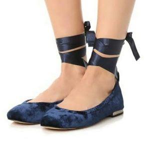 Sam Edelman Fallon Blue Velvet Ballet Flats